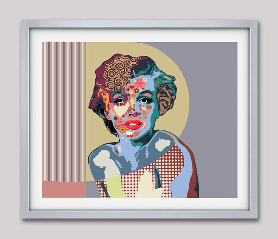Marilyn Monroe Art, Marilyn Monroe Pop Art Poster, Portrait Painting, Wall Decor, Wall Art, Home Decor, Giclee Print