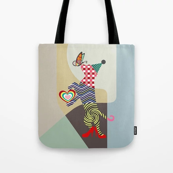 Colorful Dog Tote Bag, Funny Puppy Print Doggy Weekend Sack