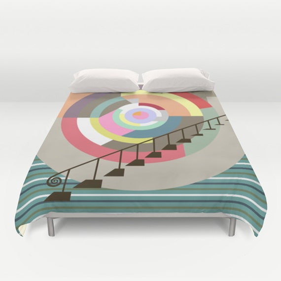 Colourful Bedding, Geometric Bedding,  Cute Bedding Duvet Cover, Queen Duvet Cover, Full Duvet Cover, King Duvet Cover, Red, Yellow, Blue