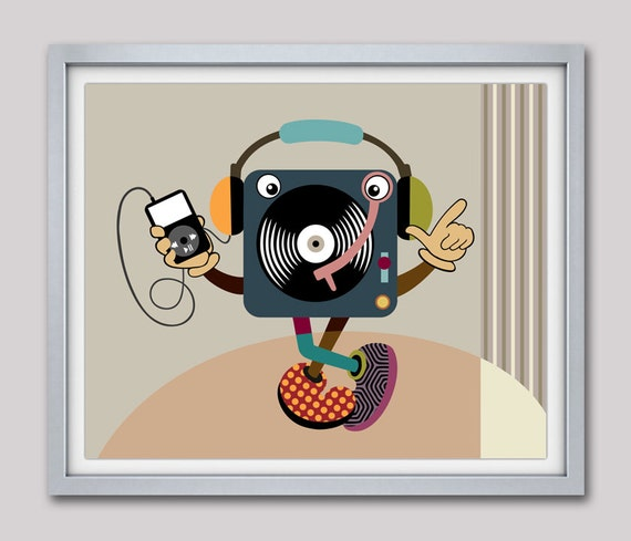 Music Art, Retro Wall Art,  Minimalist Art, Turntable Art, Turntable Poster, Vinyl Record Art, Vinyl Record Poster, Vinyl Record Gift
