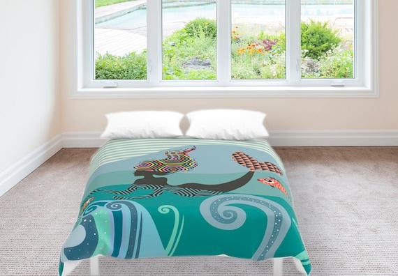 Mermaid Bedding, Mermaid Bedroom  Decor,  Duvet Cover, Queen Duvet Cover, Full Duvet Cover, King Duvet Cover, Turquoise