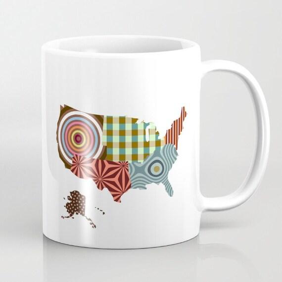 USA Map Coffee Mug, Coffee Mug For Him, Cute Mugs, Unique Coffee Mugs, Ceramic Mug, Map Mug, Map Gifts