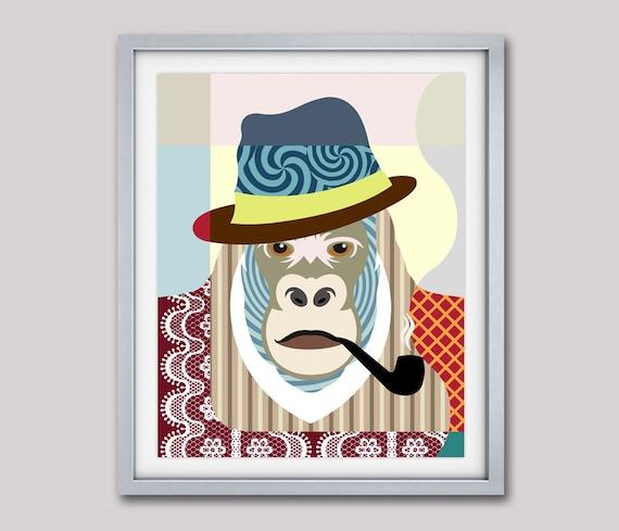 Gorilla Wall Art, Gorilla Decor, Gorilla Print, Gorilla Poster, Gorilla Painting, Gorilla Gifts, Animal Art, Animal Portraits