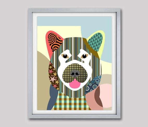 Akita Dog Breed Art Print Poster, Akita Gift, Akita Decor, Akita Pop Art Dog, Pet Portrait, Animal Art, Dog Painting, Dog Wall Art
