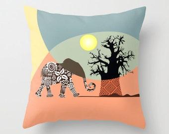 African Safari Pillow, Elephant  Art  Pillow, Afrocentric Decorative Throw Pillow, African Home Decor, Elephant Pillow case