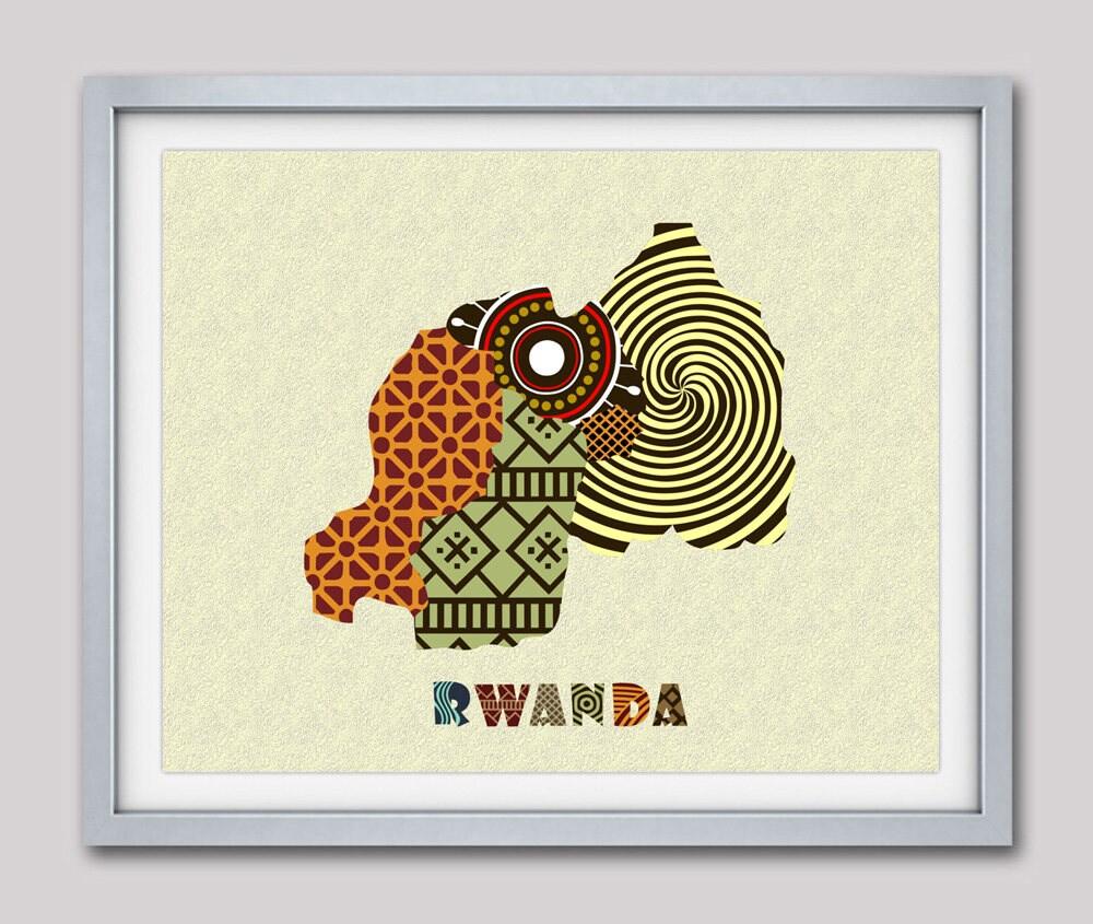 Map Of Africa Art.Rwanda Map Art Print Wall Decor Rwanda Poster Kigali Rwanda