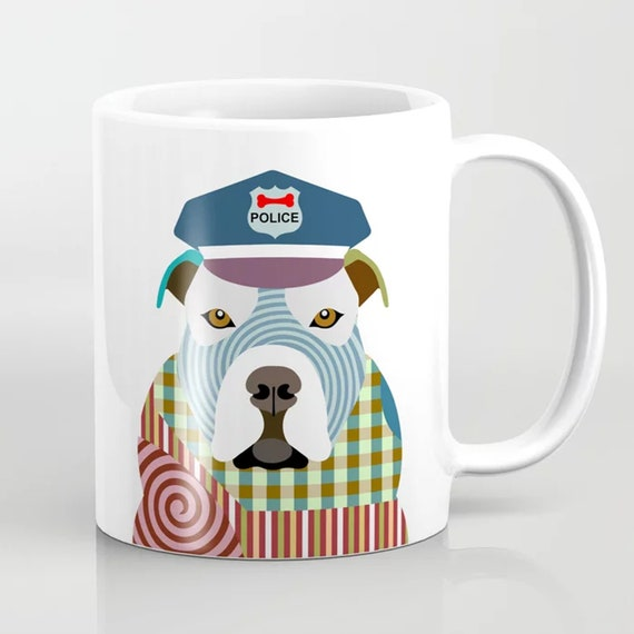 Pit Bull Mug, Hipster Dog Print Coffee Ceramic Cup