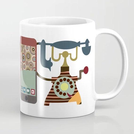 Unique Coffee Mug, Vintage Telephone Ceramic Mug