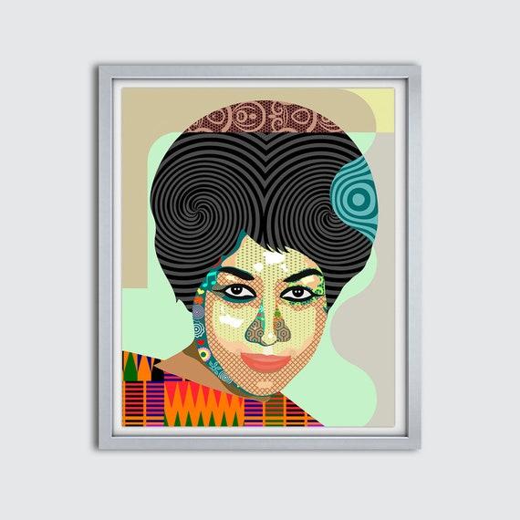 Aretha Franklin Art, Aretha Franklin Poster, Aretha Franklin Decor, Aretha Franklin Print, Aretha Franklin Painting,  Black History Art