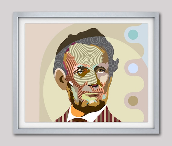 Abraham Lincoln Print, Abraham Lincoln Poster, Abraham Lincoln Wall Decor, American History, Portrait Painting