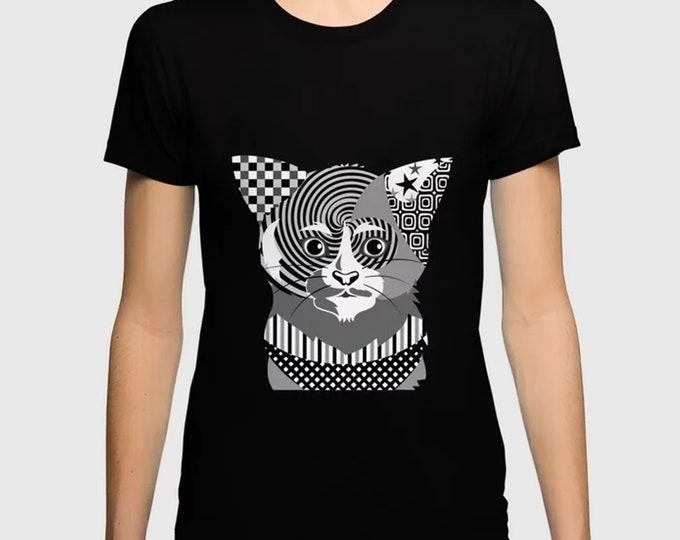 Cat T Shirt Unisex, Kitten Lover Crew Neck Apparel Gift