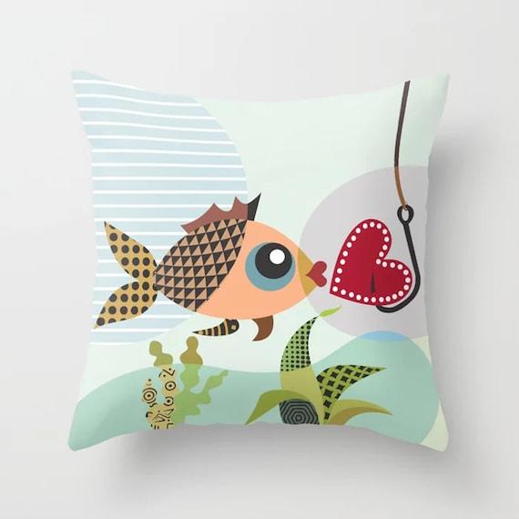 Fish Throw Pillow, Love Cushion Valentine Heart Gift