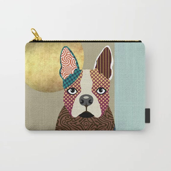 Boston Terrier Wallet, Dog Pouch Puppy Zipper