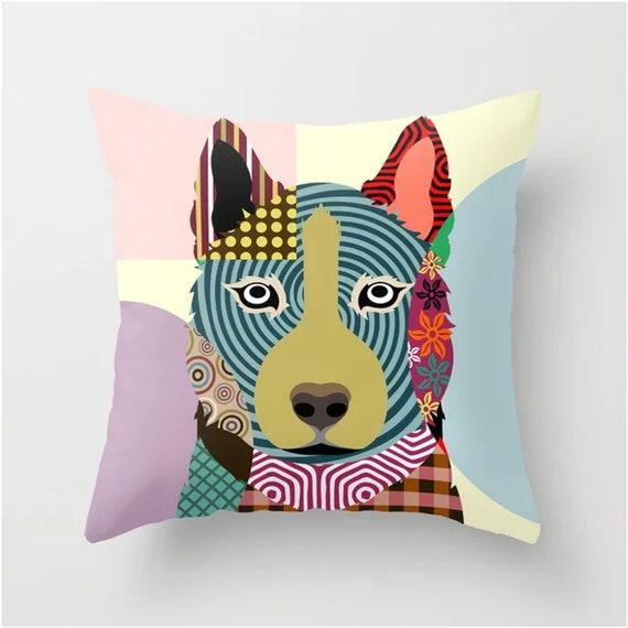 Siberian Husky Pillow, Sibe Dog Pop Art Cushion Pet Decor
