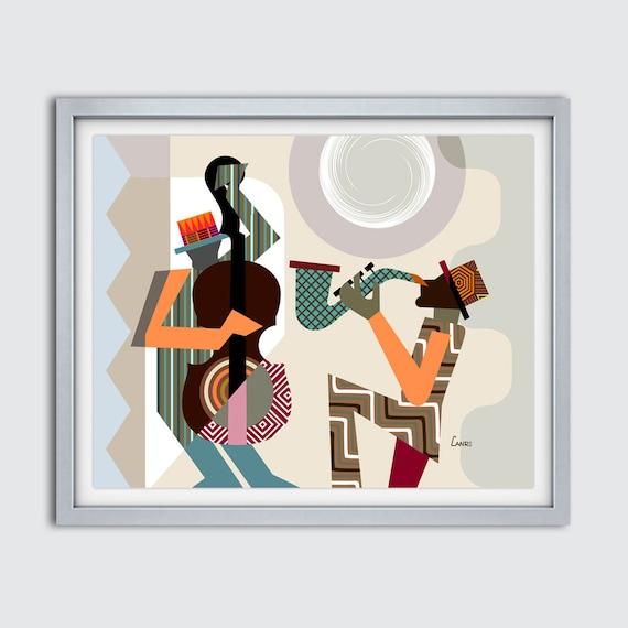 Jazz Festival Orleans Music Poster, Saxophone Player Painting, Black Music Art, Abstract Music Wall Art, Melody Maker, Cubist Geometric Art