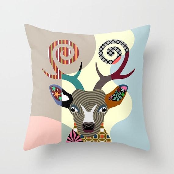 Deer Pillow, Deer Gifts, Deer Art, Deer Decor, Deer Antler, Deer Painting, Animal Pillow, Deer Print, Animal Portrait