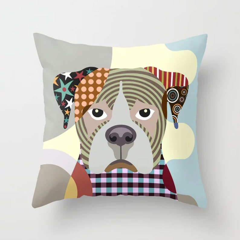 Boxer Throw Pillow Dog Print Cushion Doggy Portrait image 0