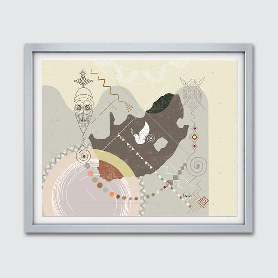 South African Map, South African Art Print Wall Decor, South African Poster, South African Decor, Zulu Shield, Zulu Art