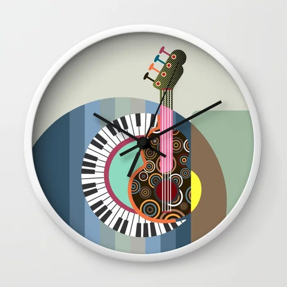 Music Clock, DJ Piano Guitar Lover Gift Room Decor