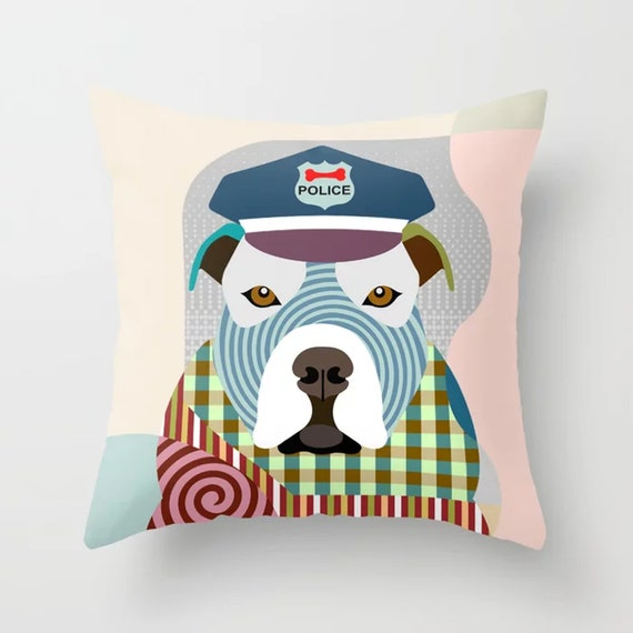 Pit Bull Pillow, Bully Dog Cushion Hipster Pet Portrait