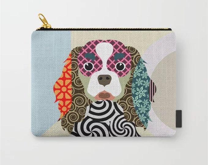 Cavalier King Pouch, Dog Zipper Wallet Coin Purse