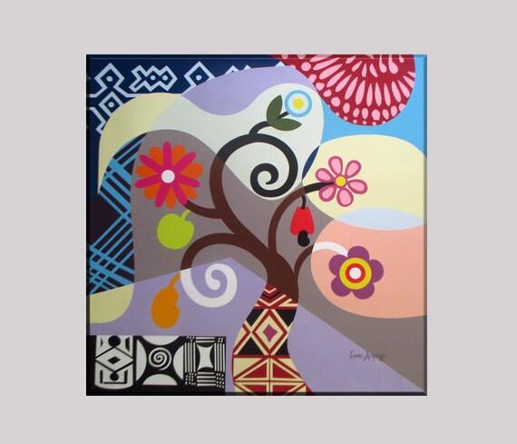 Tree of Life Art, Tree of Life Wall Decor, Tree of Life Canvas, Tree of Life Painting, Tree of Life Gift, Abstract Tree of Life Flower Art