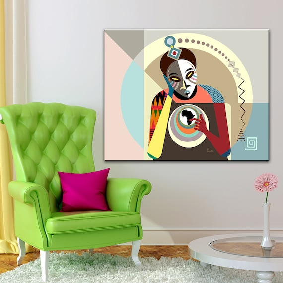 Black Conscious Art Abstract Painting, Original African American Kwanzaa Decor, Afrocentric Nigerian print
