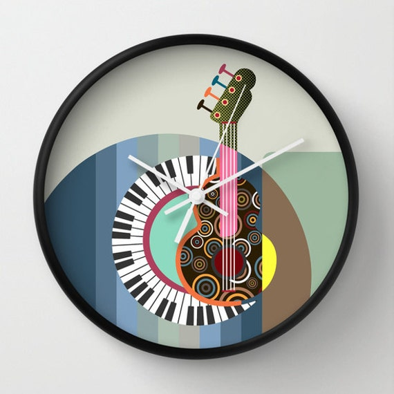 Cute Music Wall Clock, Unique Wall Clock, Wall Clock Home Decor, Wall Clock Music, Decorative Clock, Music Gift, Colourful
