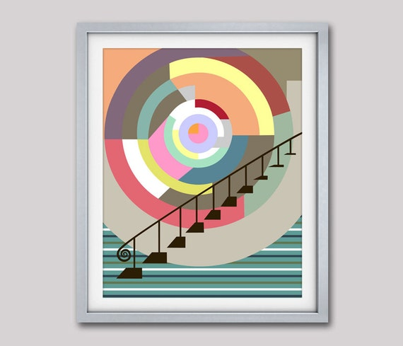 Stairway to Heaven, Cubist Painting, Geometric Wall  Art Print,  Geometric  Decor, Abstract Wall Art Print, Colorful Prints