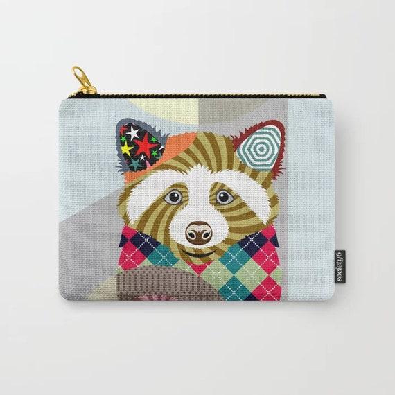 Raccoon Coin Purse, Animal Lover Zipper Pouch