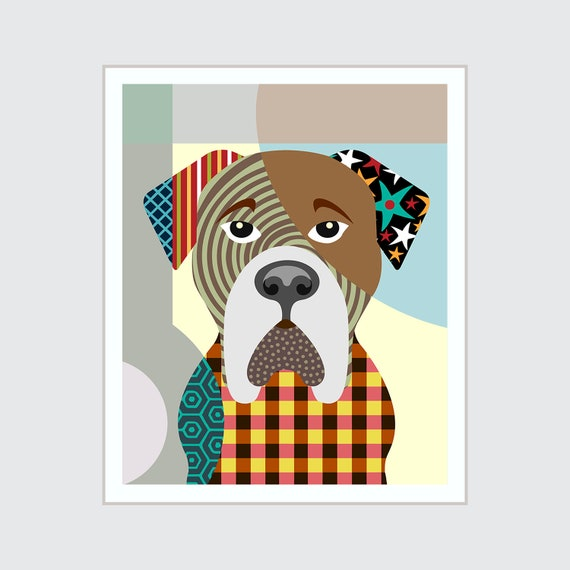 Bullmastiff Decor, Dog Pop Art Pet Portrait