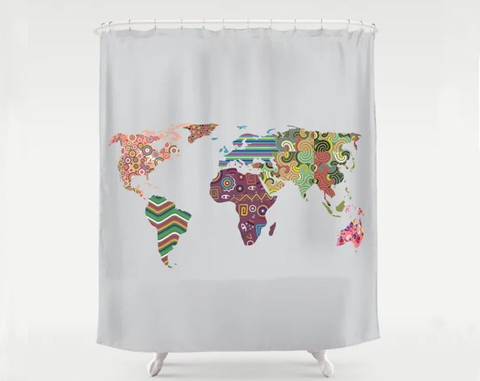 World Map Shower Curtain, Bathroom Drapes Home Décor