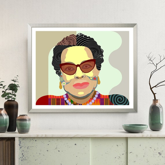 Maya Angelou Art Print, Black History Civil Rights Activist