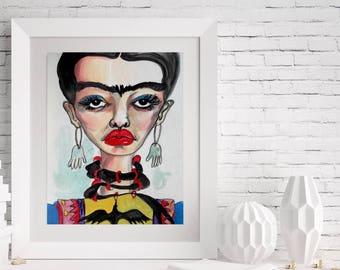 Frida Kahlo Art Illustration Instant Digital Download Printable Wall Decor