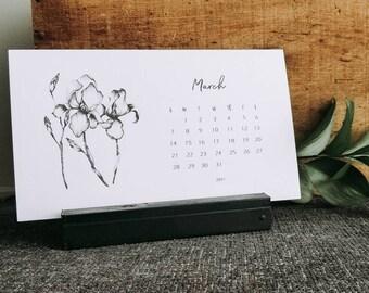 2021 Desk Calendar - Calendar with Stand - Small Desk Calendar - 2021 Floral Calendar - Unique Hostess Gift - Gifts for Her