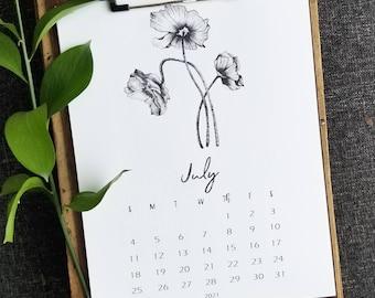 2021 Wall Calendar - Floral Wall Calendar- 2021 Calendar - Clipboard Wall Calendar - Monthly Calendar 2021 - Christmas Gift For Her
