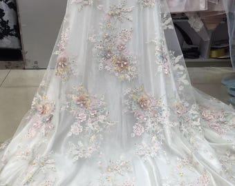 d6092b1bf333 pastel heavy embroidered tulle lace fabric with 3D flowers