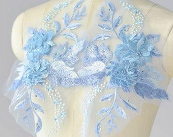 2 pcs 3d blue flower motif lace applique 6408e01a23fe