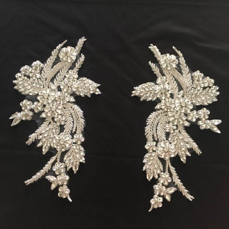 Green Rhinestone bead applique rhinestone garment accessory heavy bead handmade rhinestone applique for couture