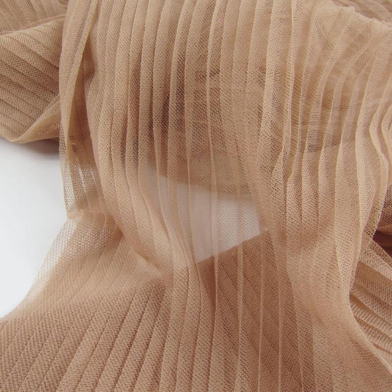 mesh accordion pleats fabric Pleated mesh Panel fabric ruffled tulle fabric,Vertical crease nude accordion tulle pleated fabric