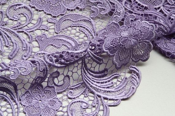 Lavendel Spitzenstoff gehäkelte Kleider Stoff bestickt Blumen | Etsy