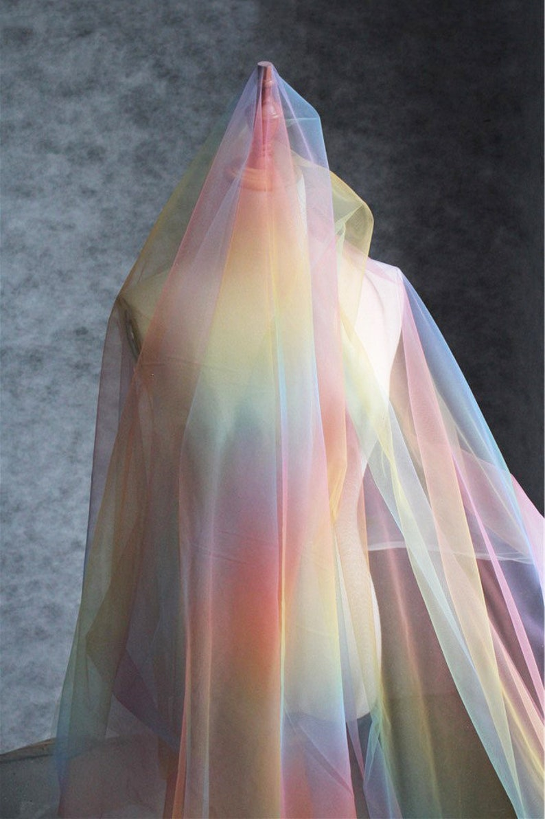 bridal tulle lace fabric rainbow color mesh lace fabric Tie dyed tulle fabric with Gradient colors