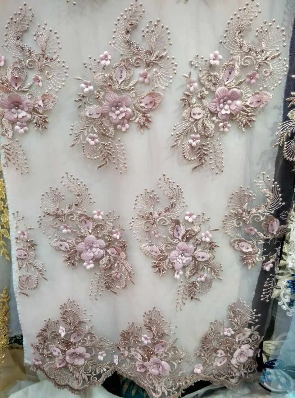 3D lace fabric nude pink lace fabric with 3D flowers 3D plum