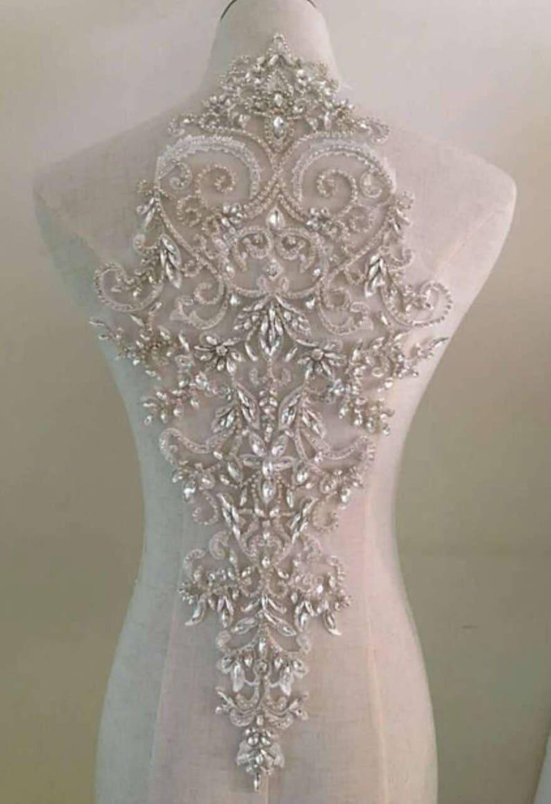 rhinestone bead applique collar for wedding dress craft bridal supplies Large rhinestone bridal neckline applique for bridal dress
