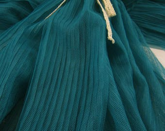dark green Pleated tulle Panel,tulle cloth Vertical crease, mesh accordion pleated fabric, pleats fabric by the yard for skirt