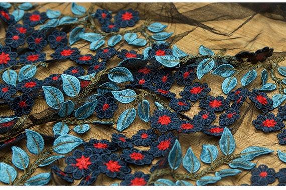 tissu dentelle feuilles tulle brodé avec des feuilles dentelle bleu-vert ec9b81