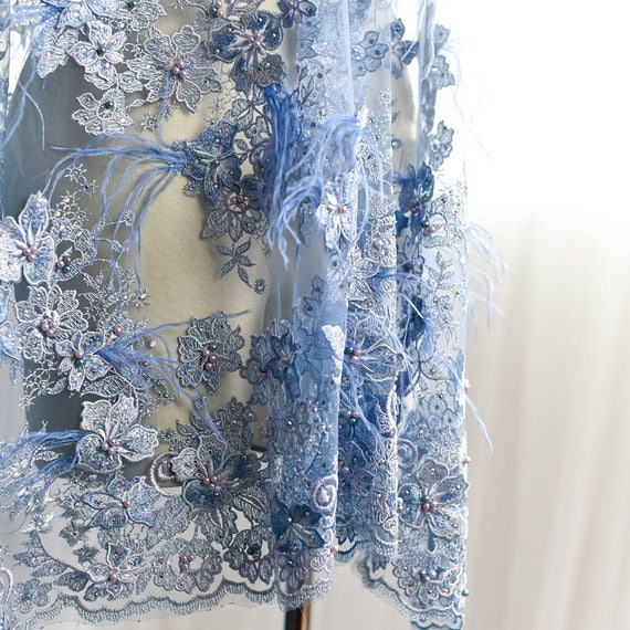 off white embroidered tulle lace fabric with feathers embroidery mesh lace fabric with blue feather