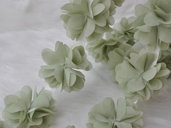 Light Green Chiffon Rosette Wedding Dress Lace Trim Chiffon | Etsy