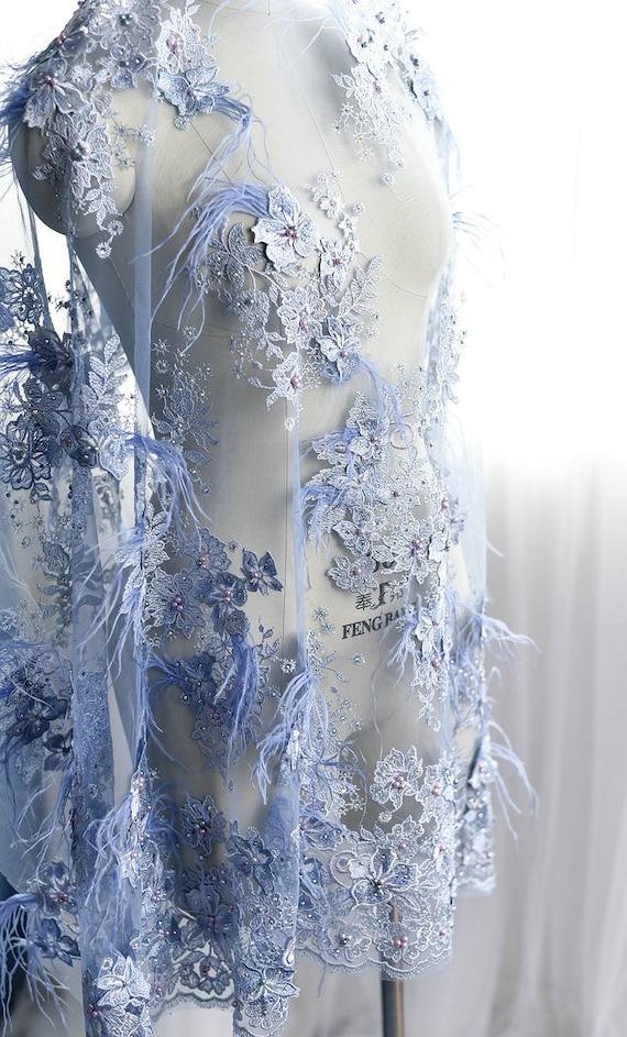 tissu dentelle tulle tulle tulle brodé bleu clair avec des plumes d'autruche, tissu dentelle tulle brodé lourd 3D avec des fleurs, tissu africain dentelle 13abc4
