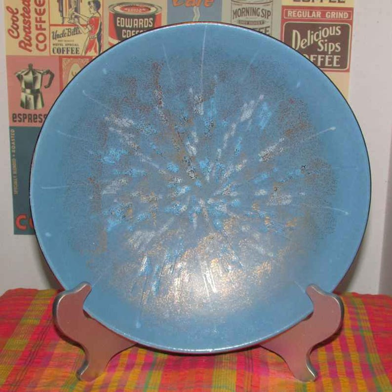 Large Blue ceramic art flat bowl west Germany 100  blue and gold with gold colored rim mid century modern .